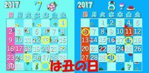 2017年の7月と8月の丑の日