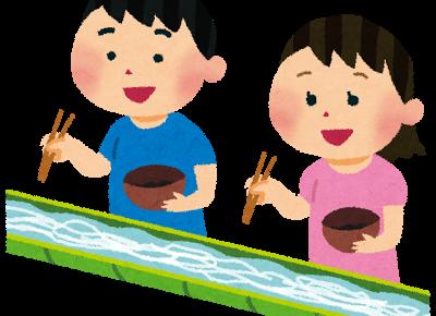 そうめんを食べる子供たち