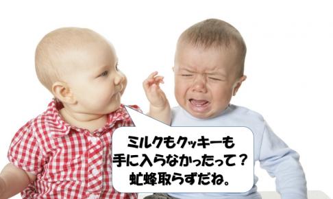 虻蜂取らずで泣いている赤ちゃん