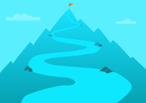 目的に向かって上る山